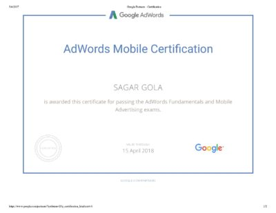 Google AdWords Mobile Advertising Exam Question & Answers Sheet-page-001