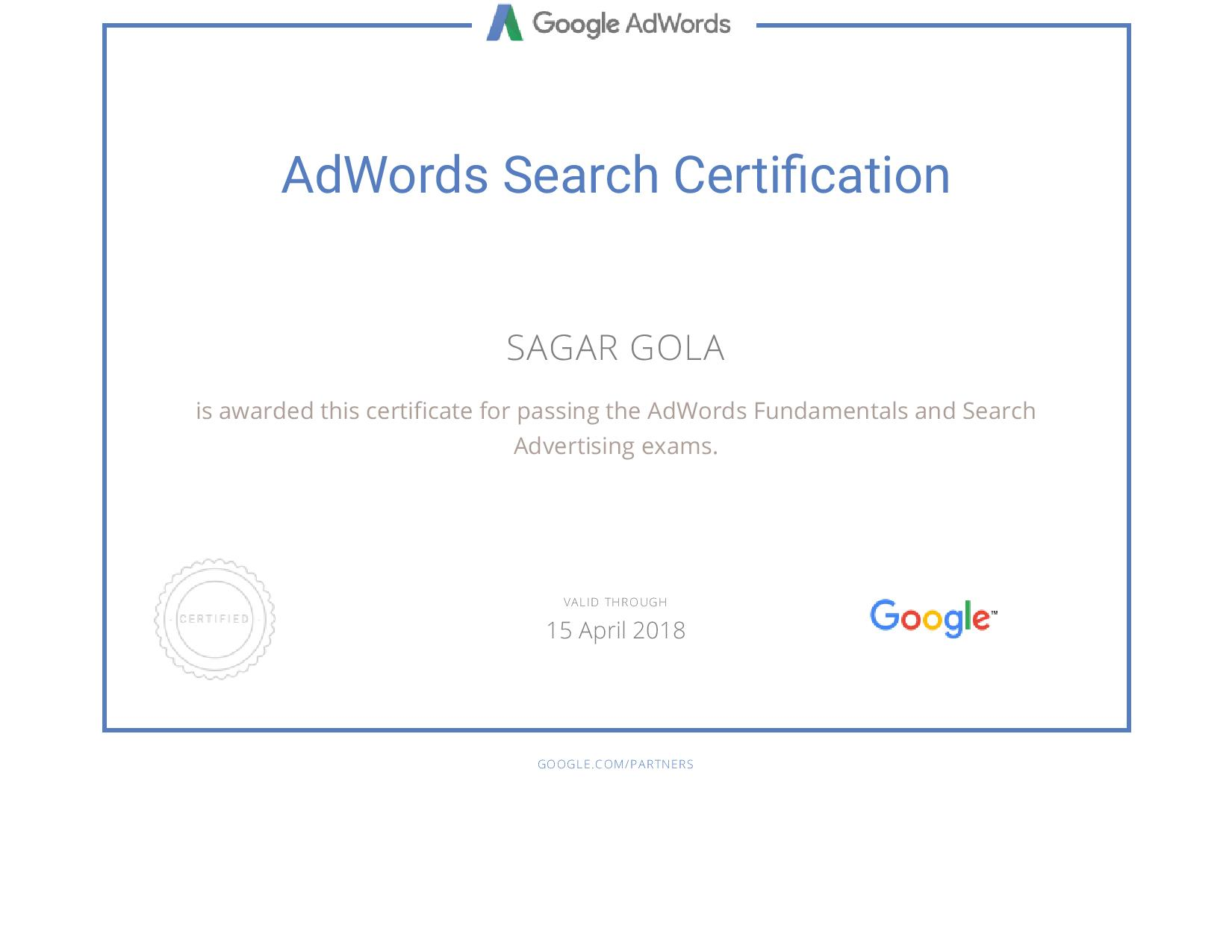 Google adwords search advertising exam answers sheet 2018 sagar gola fandeluxe Gallery