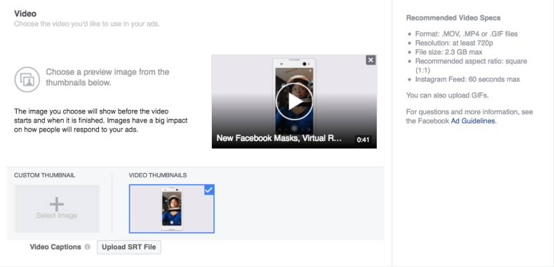 Single Video Ads Format in facebook